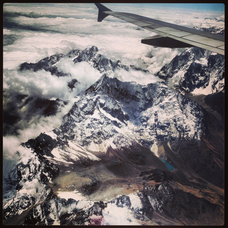 The Andes Mountains as seen from the airplane